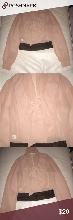 Women's Bow Tie Sheer Chiffon Pink Blouse Worn Once! Price negotiable Double Zero Tops Blouses