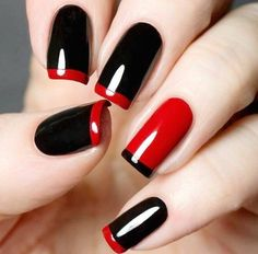 All girls like beautiful nails. The first thing we notice is nails. Therefore, we need to take good care of the reasons for nails. We always remember the person with the incredible nails. Instead, we don't care about the worst nails. Red Black Nails, Red Nails, Love Nails, How To Do Nails, Pretty Nails, Black Manicure, Polish Nails, Dark Nails, Matte Black