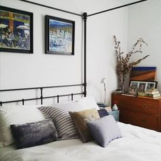 Love this eclectic, casual bedroom style.