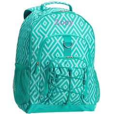 PB Teen Gear-Up Preppy Diamond Backpack, Pool ($25) ❤ liked on Polyvore featuring bags, backpacks, polka dot backpack, monogrammed backpacks, day pack backpack, diamond backpack and stitch backpack
