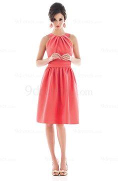 Modest A-line Elastic Woven Satin Jewel Sleeveless Knee Length Bridesmaid Dress