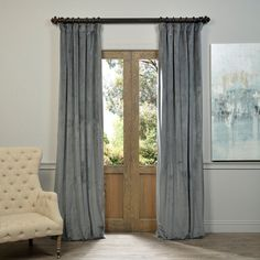 Exclusive Fabrics Natural Grey Velvet Blackout Curtain Panel - 13998794 - Overstock.com Shopping - Great Deals on EFF Curtains