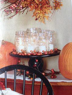 Mason jar candles on a cake stand!