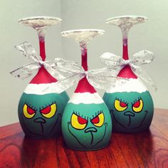 Grinch wine glass candle holders!