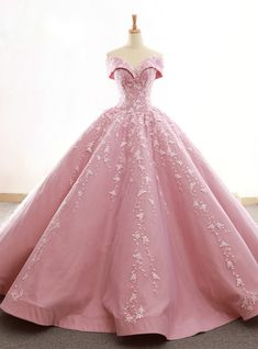 Pink Satin Tulle Off The Shoulder Appliques Wedding Dress – Rosa Satin Tüll aus der Schulter Appliques Brautkleid – Quince Dresses, Pink Prom Dresses, Plus Size Prom Dresses, A Line Prom Dresses, Long Wedding Dresses, Quinceanera Dresses, Ball Dresses, Gown Wedding, Pink Ball Gowns