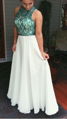 Two Pieces Prom Dress,Sequins Prom Dress,Chiffon Prom Dress,Fashion Prom Dress,Sexy Party Dress, New Style Evening Dress