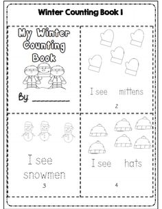 Winter counting book part of 30 pg math ela packet for kdg common core aligned