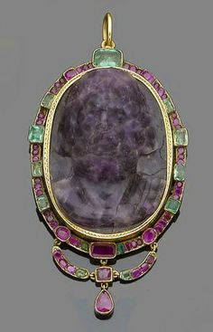 Victorian carved amethyst and ruby and emerald pendant,