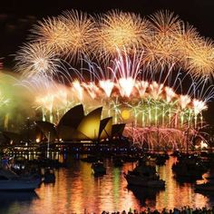 Incredible New Year's Eve fireworks display from the Circular Quay in Sydney, Australia