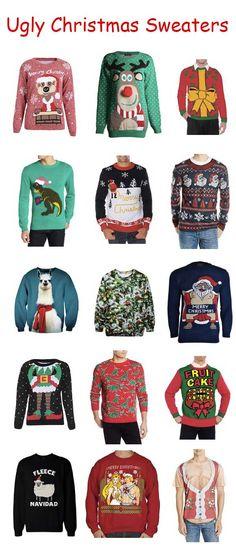 A huge assortment of ugly Christmas sweaters! I want the Elf sweater🎅🎄 Diy Ugly Christmas Sweater, Ugly Sweater Party, Christmas Jumpers, Xmas Sweaters, Ugly Sweater Contest, Christmas Fashion, Christmas Decor, Christmas Ideas, Pulls