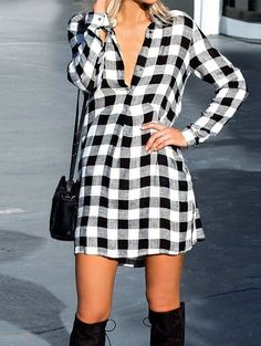 Women all matching plaid patchwork shirt skirt,very suitable for this fall/winter/spring;Now Free shipping worldwide! No minimum purchase! Easy Return.Search more fashion clothing at vogueclips.com
