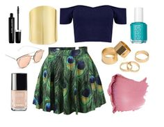 Summer Spite by eleanalda-luthien on Polyvore featuring Boohoo, Chicnova Fashion, Lydell NYC, Pieces, Marc Jacobs, Chanel, Essie, gold and peacock