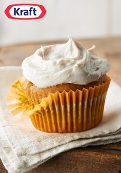 Pumpkin Cupcakes with Cinnamon-Cream Cheese Frosting — What could make a moist pumpkin cupcake recipe better? Cream cheese frosting spiced with cinnamon, of course!