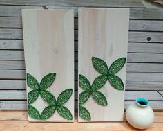 Satz von 2  moderne Kunst aus Holz Tablet  grün