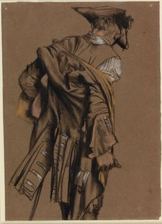 Adolph Menzel, Artist's Model, Seen in Back View, Putting on an Eighteenth-Century Uniform19th century