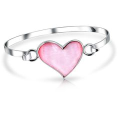 Bling Jewelry Bling Jewelry Pink Mother Of Pearl Love Heart Sterling... ($41) ❤ liked on Polyvore featuring jewelry, bracelets, pink, sterling silver jewelry, heart jewelry, hinged bracelet, pink bangle bracelet and heart bangle bracelet