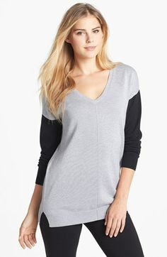 Two by Vince Camuto Contrast Sleeve V-Neck Sweater available at #Nordstrom