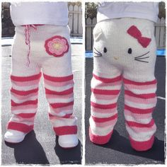 Etsy seller Mazter has created a knitting pattern for these teeth-achingly cute Hello Kitty toddler trousers and is accepting pre-sales. Knitting pattern - Kitty pants (via Craft) Crochet Pants, Knit Pants, Knit Crochet, Free Crochet, Toddler Pants, Baby Pants, Baby Overalls, Knitting For Kids, Baby Knitting Patterns