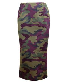 Multi-green and purple brushed cotton camouflage pencil skirt from Tzipporah. -