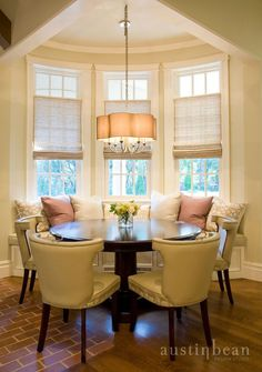 breakfast nook decor | Designer Tags: dining dark wood dining table chandelier accent pillow ...