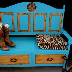 Turquoise Bench Call to order yours 409-489-9575 Check us out on FB Gods Country Western Furniture & Gifts