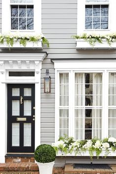 New Ideas For Exterior House Colors White Window Boxes Front Door Paint Colors, Exterior Paint Colors For House, Painted Front Doors, Paint Colors For Home, Exterior Colors, Paint Colours, Best Front Doors, House Paint Color Combination, George Town