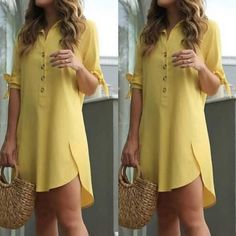 Asymmetrical Mustard dress A line dress for women Autumn dress Spring dress Evening Party dress Cocktail dress mustard yellow Occasion dress - Her Crochet Dress Over Pants, Shirt Dress, Curvy Outfits, Chic Outfits, Hijab Stile, Casual Dresses, Fashion Dresses, Dress Shirts For Women, Fashion Clothes