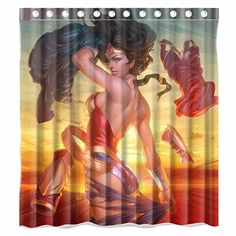Custom Marvel Heroes Wonder Woman Waterproof Polyester Fabric Bathroom Shower Curtain Standard Size 66wx72h *** Details can be found by clicking on the image.Note:It is affiliate link to Amazon.