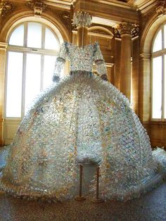 'Regina' by Enrica Borghi, a dress made of plastic bottles and bags.