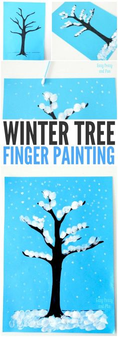 Winter Tree Finger Painting Craft for Kids