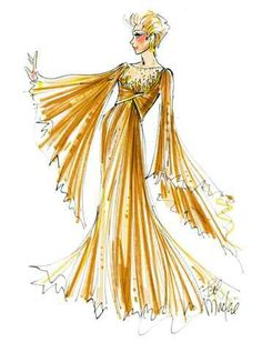 Bob Mackie sketch for Mitzi Gaynor Dress Sketches, Fashion Sketches, Fashion Illustrations, Fashion Drawings, Illustration Fashion, Theatre Costumes, Cool Costumes, Old Hollywood Movies, Hollywood Style