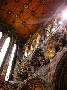 This photograph is one of Glasgow Cathedral from the inside.  The first Cathedral was built in 1137 and the grave of Saint Mungo, the Patron Saint of Glasgow lies at rest. Through the Centuries many changes have happened but at no time has the building not been  a place of Worship. The Catherdral can be found where the High Street and Cathedral Square meet, in the center of Glasgow, Scotland,