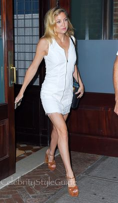 0876e741f83e Kate Hudson Looks Stunning In A White Zip Front Raw Hem Dress In Tribeca.  Celebrity Style Guide
