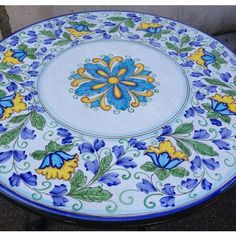 Handmade, hand painted volcanic stone tables made in Sicily - the last table you will ever need! China Painting, Ceramic Painting, Mexican Paintings, China Clay, Italian Tiles, Italian Pottery, Blue Pottery, Mixed Fruit, Hand Painted Ceramics