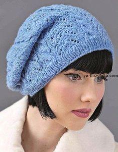 Ажурная шапка с косами