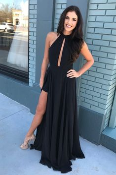 Elegant Black Chiffon Long Prom Dress with Side Slit