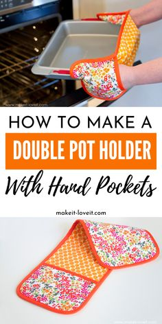 Learn how to make a double pot holder with hand pockets. An easy sewing project that you can use in your home or gift to a loved one. Learn how to make a double pot holder with hand pockets. An easy sewing project that you can use in your home or … Sewing Hacks, Sewing Tutorials, Sewing Crafts, Sewing Tips, Diy Crafts, Fabric Crafts, Party Crafts, Sewing Blogs, Sewing Patterns Free