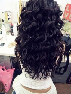 long curly black hair