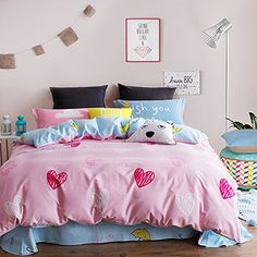 Mumgo Home Textile Bedding for Adult Kids Heart Print Pink Duvet Cover Set 100 Brush Cotton 4 Pieces  Queen Set without Comforter or Filling -- Read more reviews of the product by visiting the link on the image.