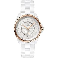 Chanel J12-365 Opaline guilloche Dial Automatic Ladies Watch ($6,600) ❤ liked on Polyvore featuring jewelry, watches, analog watches, round watches, water resistant watches, chanel and 18k jewelry
