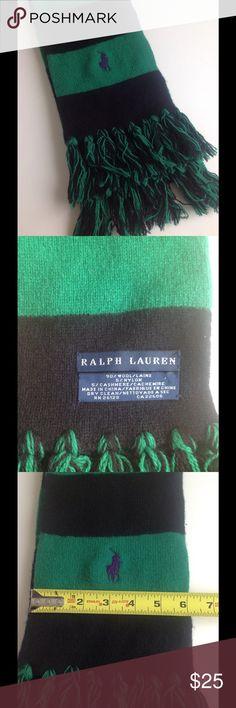 "Ralph Lauren Wool Scarf -Like New Wool blend scarf. Used once. Dark green and black stripe. 80"" long. Purple logo Ralph Lauren Accessories Scarves & Wraps"