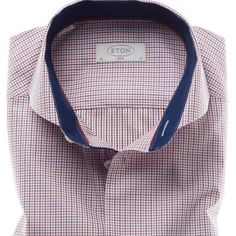 Micro check by Eton with a cut away collar