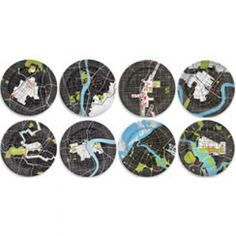 City plates: Berlin, Shanghai, Los Angeles, Cairo, New Orleans, Washington DC., Las Vegas, Dubai, Brasilia, New York, Melbourne, St. Petersburg, Tokyo, London, Mexico City and Rome.