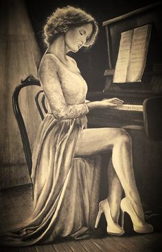 MB:piano lesson pencil drawing by martonblack on DeviantArt Dark Art Drawings, Pencil Art Drawings, Realistic Drawings, Drawing Piano, Piano Art, Pencil Sketches Landscape, Girl Drawing Sketches, Art Sketchbook, Drawing People