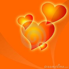 Four orange hearts are ideal valentines day background.