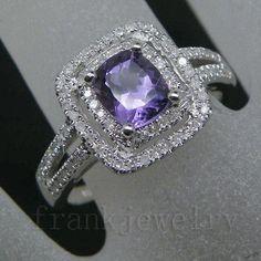 solid 14kt white gold diamond emerald cut purple amethyst wedding ring 2t018 - Purple Wedding Rings