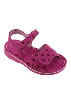 Fuchsia Polka Dot Gina Leather Sandal by Kid Express #zulily #zulilyfinds