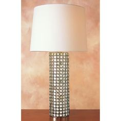 """Reflections Table Lamp open mirrored base, chrome finish, and white linen shade 15""""W x 28""""H 1x150 watt 3-Way bulb  $228"""