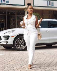 Women Two Piece Suit Sleeveless Lapel White Vest Jacket + Pants Business Office Blazer Outfits, Leather Blazer, Chic Outfits, Fashion Outfits, Dressy Outfits, Work Outfits, Chic Couture Online, Two Piece Pants Set, Business Casual