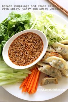 Korean Dumplings and Fresh Salad with Spicy, Tangy and Sweet Dressing